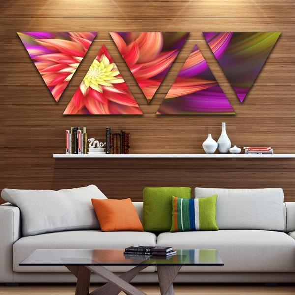 designart large red purple alien flower floral triangle canvas art