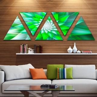 Designart 'Large Green Alien Fractal Flower' Floral Triangle Canvas Art Print - 5 Panels