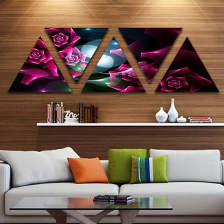 Designart 'Pink Bouquet of Beautiful Roses' Contemporary Triangle Canvas Art Print - 5 Panels