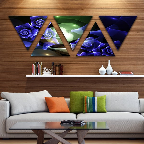 Designart 'Blue Bouquet of Beautiful Roses' Contemporary Triangle Canvas Art Print - 5 Panels