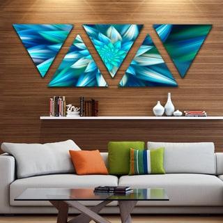 Designart 'Huge Blue Fractal Flower' Floral Triangle Canvas Art Print - 5 Panels