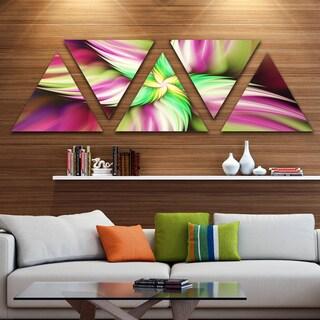 Designart 'Huge Rotating Pink Flower' Floral Triangle Canvas Art Print - 5 Panels