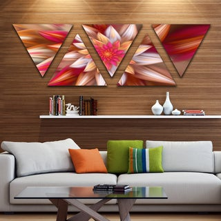 Designart 'Huge Red Fractal Flower' Floral Triangle Canvas Art Print - 5 Panels