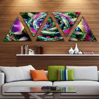 Designart 'Colorful Exotic Whirlpool Flower' Floral Triangle Canvas Art Print - 5 Panels