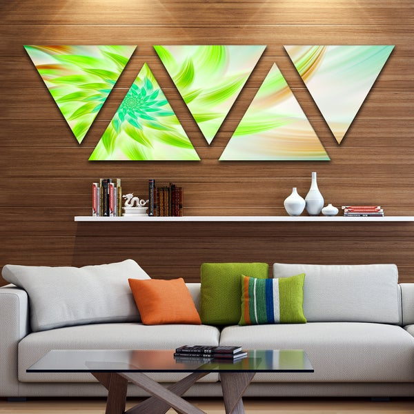 Designart 'Huge Bright Green Fractal Flower' Floral Triangle Canvas Art Print - 5 Panels