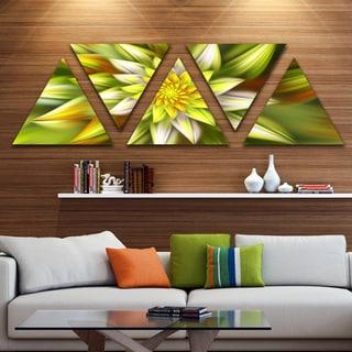 Designart 'Huge Yellow Fractal Flower' Floral Triangle Canvas Art Print - 5 Panels