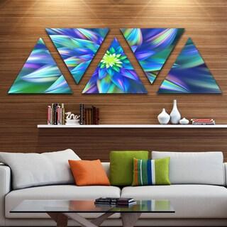 Designart 'Huge Light Blue Fractal Flower' Floral Triangle Canvas Art Print - 5 Panels