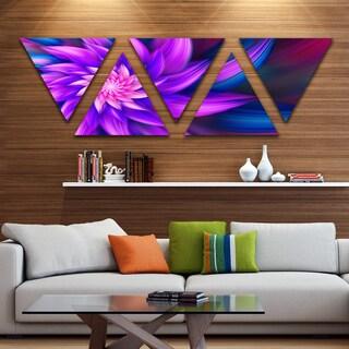 Designart 'Huge Purple Fractal Flower' Floral Triangle Canvas Art Print - 5 Panels