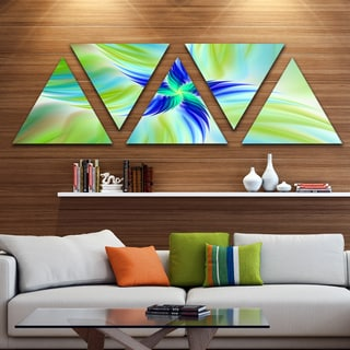 Designart 'Huge Rotating Green Flower' Floral Triangle Canvas Art Print - 5 Panels