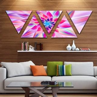 Designart 'Huge Pink Blue Fractal Flower' Floral Triangle Canvas Art Print - 5 Panels