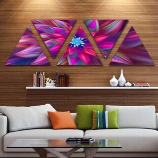 Designart 'Huge Purple Pink Fractal Flower' Floral Triangle Canvas Art Print - 5 Panels