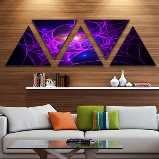 Designart 'Bright Purple Fractal Cobweb' Contemporary Triangle Canvas Art Print - 5 Panels