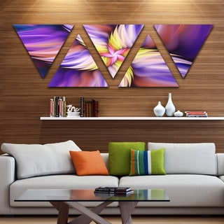 Designart 'Purple Yellow Rotating Flower' Floral Triangle Canvas Art Print - 5 Panels