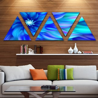 Designart 'Massive Blue Fractal Flower' Floral Triangle Canvas Art Print - 5 Panels