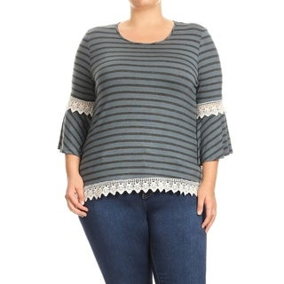 Women's Plus Size Striped Jersey Knit Top with Crochet Trim