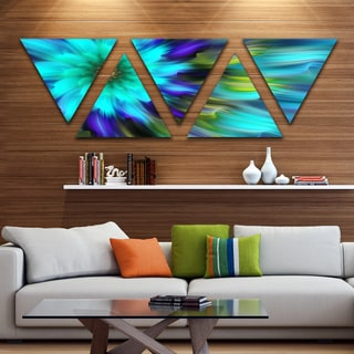 Designart 'Massive Blue Green Fractal Flower' Floral Triangle Canvas Art Print - 5 Panels