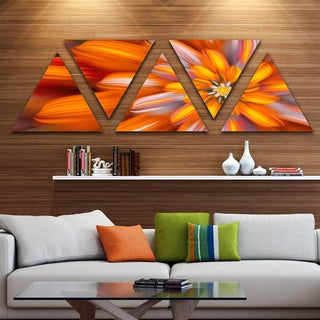 Designart 'Massive Orange Fractal Flower' Floral Triangle Canvas Art Print - 5 Panels
