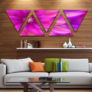 Designart 'Massive Pink Fractal Flower' Floral Triangle Canvas Art Print - 5 Panels