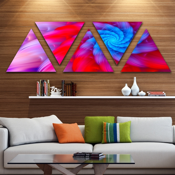 Designart 'Rotating Red Pink Fractal Flower' Floral Triangle Canvas Art Print - 5 Panels