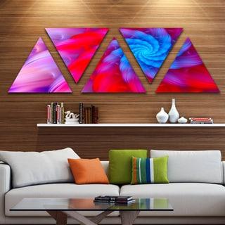 Designart 'Rotating Red Pink Fractal Flower' Floral Triangle Canvas Art Print - 5 Panels