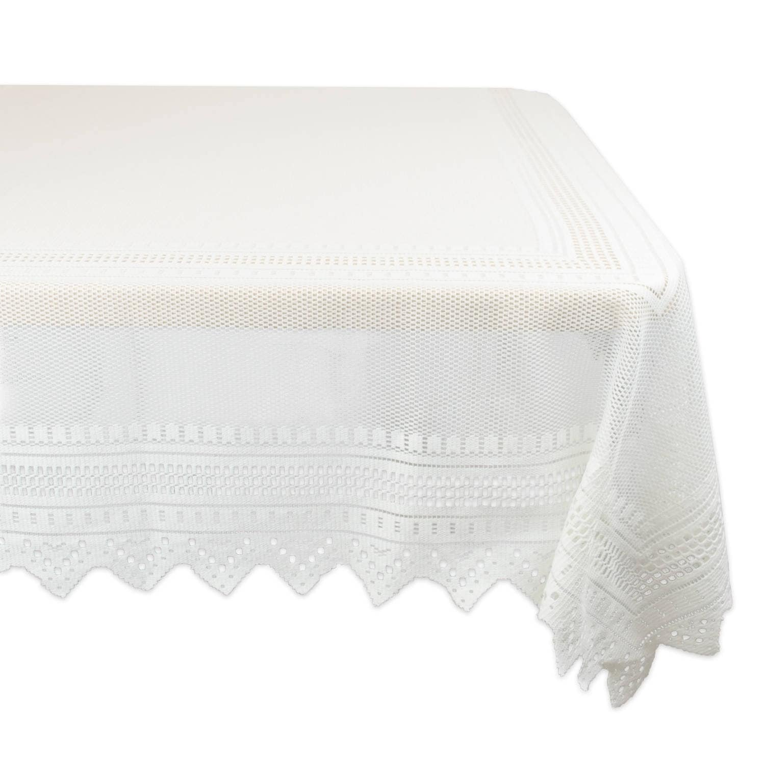 Nordic Lace Tablecloth, White (Polyester, Solid)