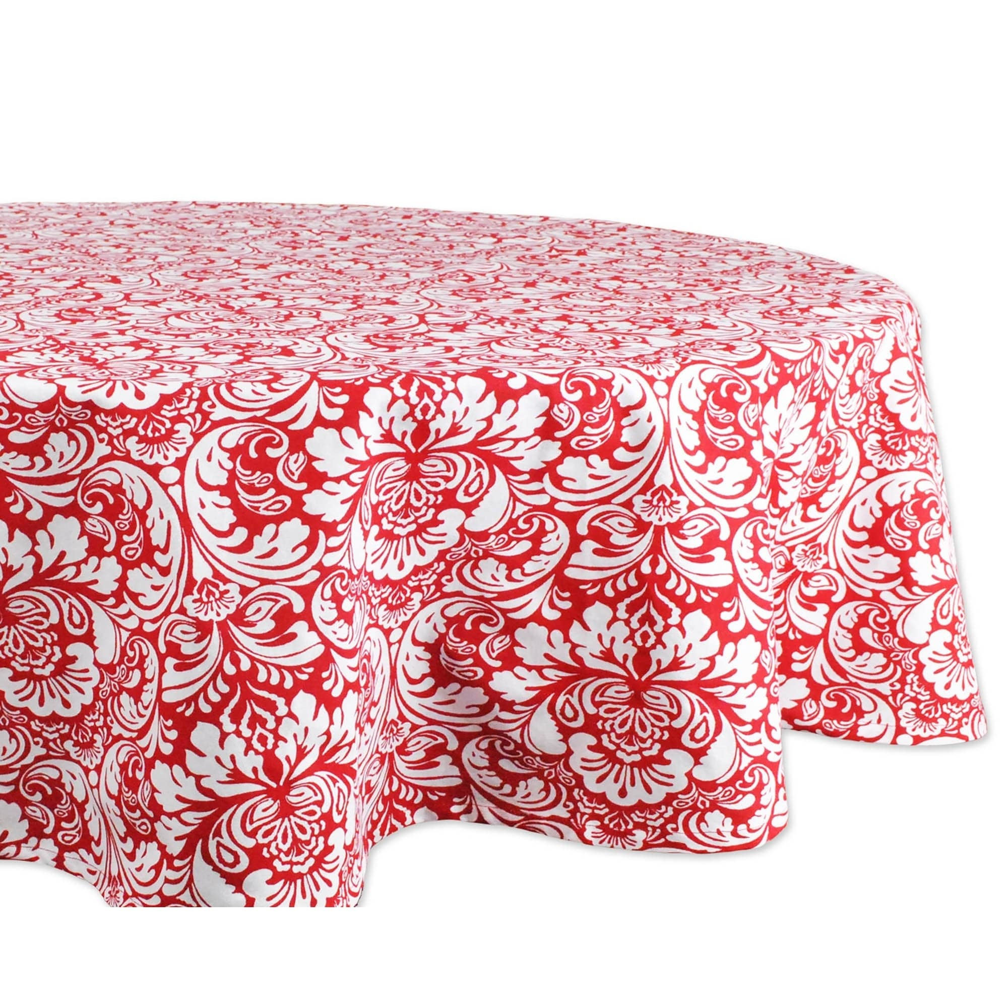 Christmas Ribbons Damask Tablecloth in White Choice of Size