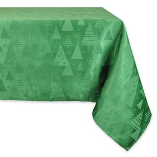 Charming Green Holiday Trees Tablecloth
