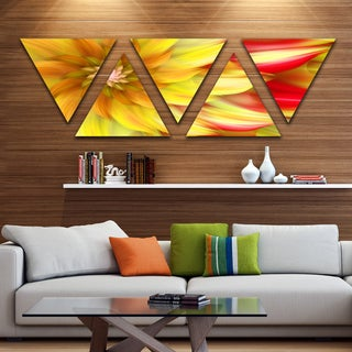 Designart 'Rotating Yellow Red Fractal Flower' Floral Triangle Canvas Art Print - 5 Panels