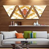 Designart 'Yellow Rhombus Fractal Design' Contemporary Wall Art Triangle Canvas - 5 Panels