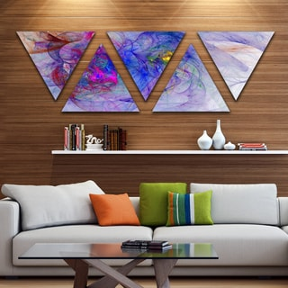 Designart 'Blue Mystic Psychedelic Texture' Contemporary Art on Triangle Canvas - 5 Panels