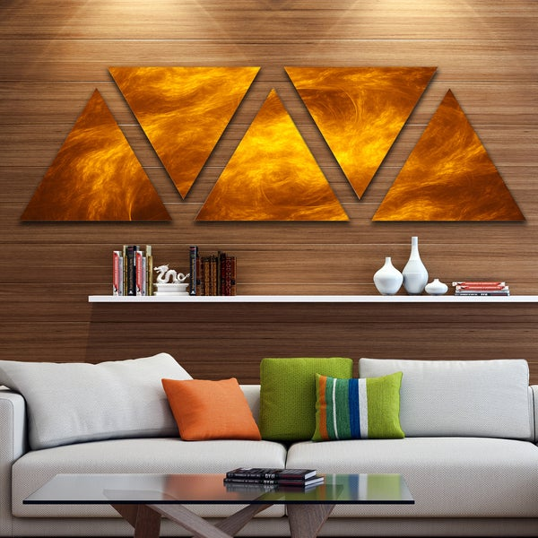 Designart 'Brown Fractal Contemporary Pattern' Contemporary Art on Triangle Canvas - 5 Panels