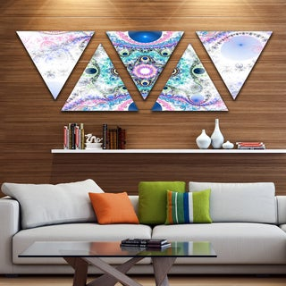 Designart 'Cryptical Blue Fractal Pattern' Contemporary Wall Art Triangle Canvas - 5 Panels