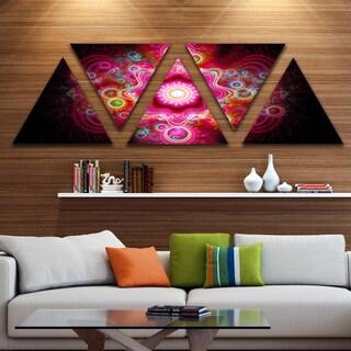 Designart 'Bright Pink Fractal Flower' Contemporary Wall Art Triangle Canvas - 5 Panels