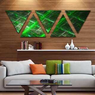 Designart 'Green Contemporary Metal Grill' Contemporary Art on Triangle Canvas - 5 Panels