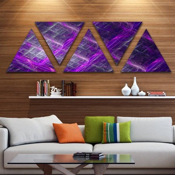 Designart 'Purple Contemporary Metal Grill' Contemporary Art on Triangle Canvas - 5 Panels