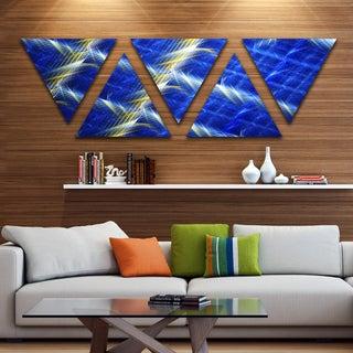 Designart 'Blue Contemporary Metal Grill' Contemporary Art on Triangle Canvas - 5 Panels