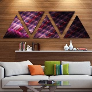 Designart 'Dark Pink Contemporary Metal Grill' Contemporary Art on Triangle Canvas - 5 Panels