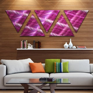 Designart 'Pink Contemporary Metal Grill' Contemporary Art on Triangle Canvas - 5 Panels
