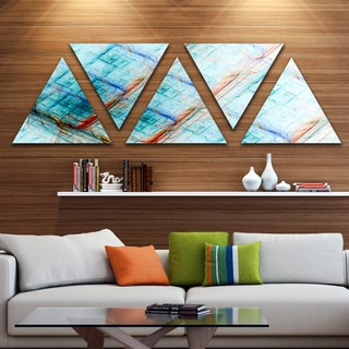 Designart 'Light Blue Metal Grill' Contemporary Art on Triangle Canvas - 5 Panels
