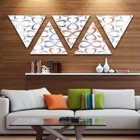 Designart 'Butterflies Fractal Outline Art' Contemporary Wall Art Triangle Canvas - 5 Panels