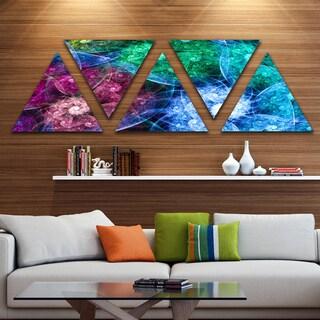 Designart 'Multi Color Bright Exotic Flowers' Contemporary Wall Art Triangle Canvas - 5 Panels
