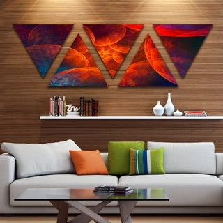 Designart 'Biblical Sky with Red Clouds' Contemporary Wall Art Triangle Canvas - 5 Panels
