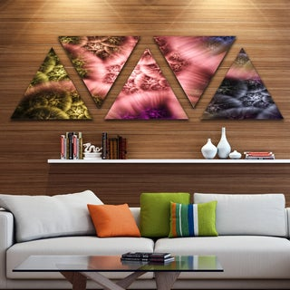 Designart 'Biblical Sky with Multi Color Clouds' Contemporary Wall Art Triangle Canvas - 5 Panels