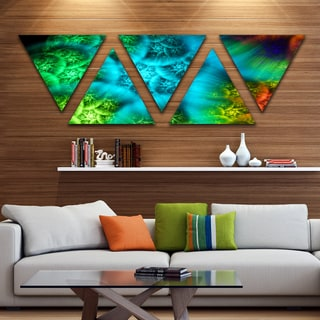 Designart 'Biblical Sky with Green Clouds' Contemporary Wall Art Triangle Canvas - 5 Panels