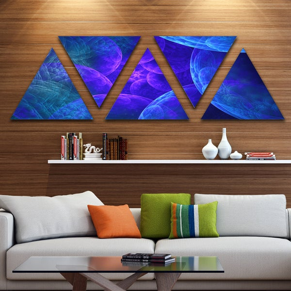 Designart 'Biblical Sky with Blue Clouds' Contemporary Wall Art Triangle Canvas - 5 Panels