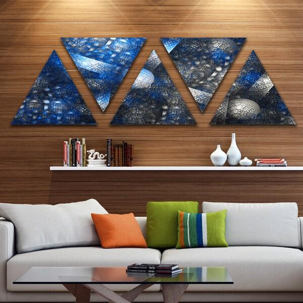 Designart 'Crystal Cell Dark Blue Steel Texture' Contemporary Wall Art Triangle Canvas - 5 Panels