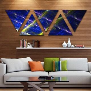 Designart 'Dark Blue Fractal Grill' Contemporary Art on Triangle Canvas - 5 Panels