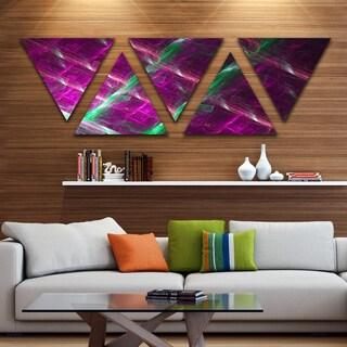 Designart 'Purple Fractal Metal Grill' Contemporary Wall Art Triangle Canvas - 5 Panels