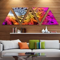 Designart 'Colorful Spiral Kaleidoscope' Contemporary Wall Art Triangle Canvas - 5 Panels