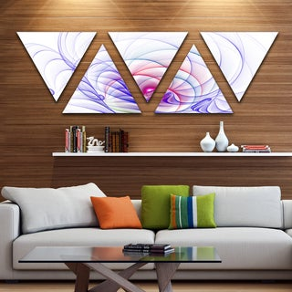 Designart '3D Blue Surreal Illustration' Contemporary Wall Art Triangle Canvas - 5 Panels